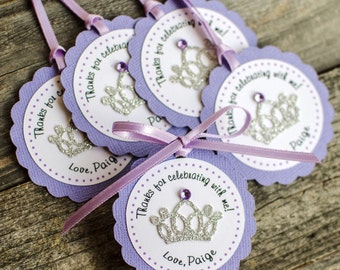 12 Sofia the First Inspired Favor tags, Personalized favor tags, princess favor tags, crown favor tags