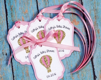 12 Baby Shower Favor tags, Personalized, Balloon favor/Thank you tags