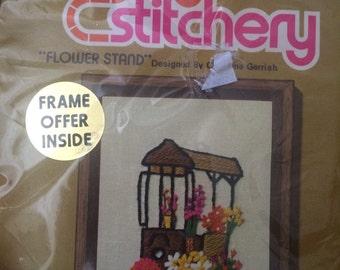 """Vtg jiffy stitchery """"flower stand"""" framed project"""