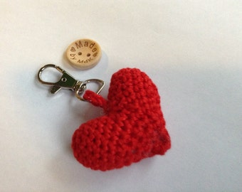 Be my Valentine red heart keychain