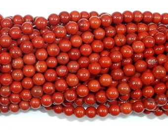 Red Jasper Beads, Round, 4mm (4.4 mm), 15.5 Inch, Full strand, Approx 94 beads, Hole 0.8 mm (371054007)
