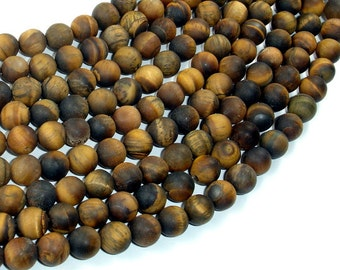 Matte Tiger Eye, 8mm Round Beads , 15 Inch, Full strand, Approx 48 beads, Hole 1mm (426054029)