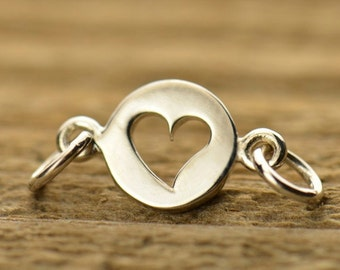 Sterling Silver, Cutout Heart, Heart Link, Tiny Heart Link, Charm Link, Silver Cutout Heart, Silver Heart Link, Heart Component, Silver Link