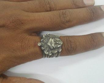 vintage antique old silver ring jain god jain tirthankar india