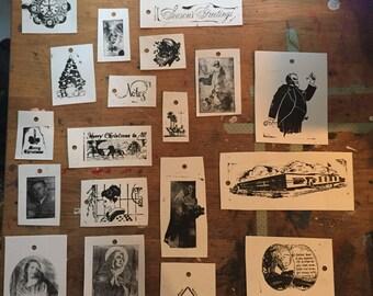 Twenty hand-printed letterpress gift tags