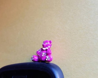 Very Cute Pink Bear Anti Dust Plug Phone Accessories Charm Headphone Jack Earphone Cap
