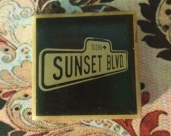 Vintage Ceramic Tile Broadway Musical Magnet: Sunset Blvd. Black