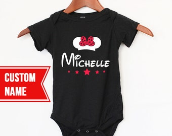Custom Name  Baby Girl Bodysuit Disney Style - Put your Baby's name on it - Original Baby Gift - Minnie Mouse