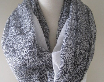 Black paisley & white Infinity Scarf with glitters - Long and lightweight scarf for spring and summer