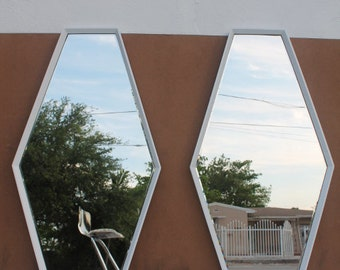 Pair Of Hexagonal  White  Wall Mirrors.