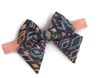 Teal Ikat Tailed Fabric Bow