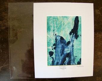 Original Blue Mushroom Printwork, Small Mushroom Printwork, Earthy Mushroom, Magic Mushroom, Blue Mushroom Art