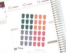 36 Trash Can Stickers - Erin Condren Stickers - Life Planner Stickers - Woodland