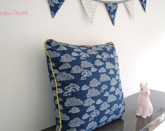 """Cushion cover """"clouds of night"""" - navy blue organic cotton"""