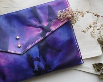 Leather tie dye clutch, purple.  Envelope bag, iPad case.  Handmade in England.