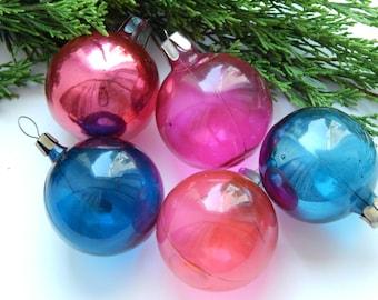 Set of 5 Soviet ball Glass Christmas ornament  Blown glass Soviet vintage Russian Christmas decoration little shiny ball Christmass ball