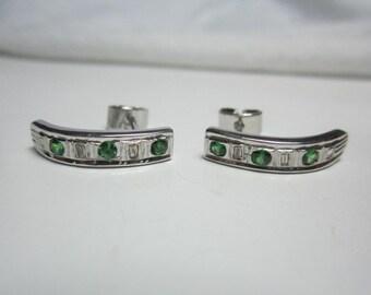 natural tsavorite and diamond earrings , natural green garnet earrings , VERY GOOD QUALITY