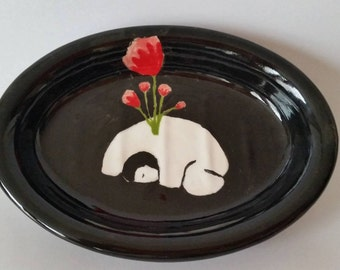 Illustrated Ceramic Soap dish