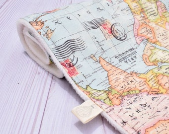 Old world map throw blankets old world map fleece map bedding etsy vintage world map gumiabroncs Images