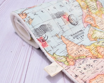 travel theme blanket, world map baby blanket, adventure theme baby shower, welcome to the world