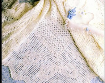 Instant PDF Download Vintage Crochet Pattern to make A Superb Baby Bebe' Fine Quality Heirloom Lace Christening Shawl or Wrap