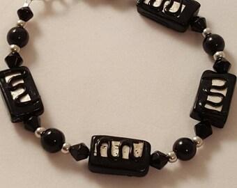 Black & Silver Bracelet - Black Glass Pearl - Black Bracelet  - Glass Bead Bracelet - Women's Bracelet - Women's Black Bracelet - Black Box
