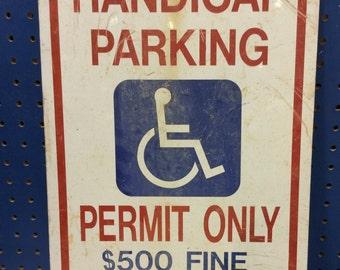 Vintage Handicap Parking Traffic Sign