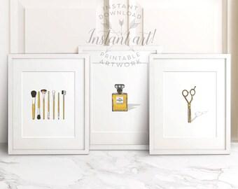 Bathroom Wall Decor PRINTABLE Set Of 3, Makeup Brushes,chanel Print,salon  Decor