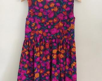 Vintage 1960s Pink Floral Mini Dress/60s Floral Print Babydoll Dress/Bold Floral Print/Boho Mini Dress/Sleeveless Dress Festival Bohemian