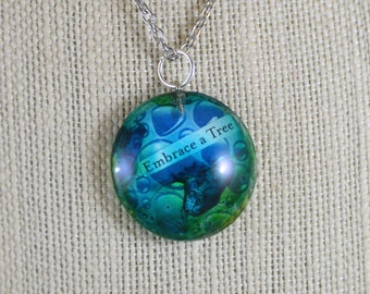 Watercolor Glass Pendant Necklace - 'Embrace A Tree'