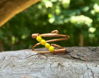 Yelow beaded copper ring