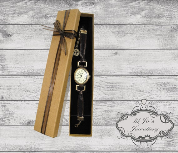 Ribbon Watch. valentines day gift, ladies watch, steampunk watch, steampunk accessory, cosplay accessory, unique, girlfriend, wife, fiance.