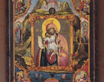 "Virgin and Child with Evangelists, 1804,7.7""x6.5""x0.8"" inches.Christian orthodox icon. FREE SHIPPING"