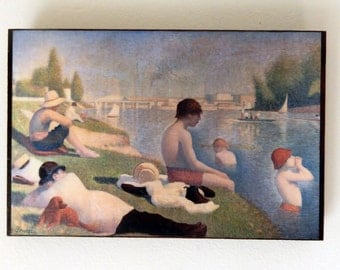 Bathers at Asnières, Georges Pierre Seurat, National Gallery, London.FREE SHIPPING