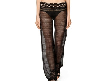 SALE Black Transparent Beach Pants, Sheer Cover Up Trousers by ILMNE