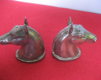 Antique salt and pepper shakers HORSE heads marked J.B. 863