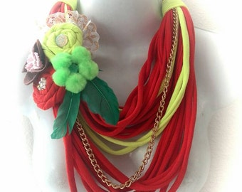 Handmade Maxi necklace-scarf orange with flower by Pitijopo