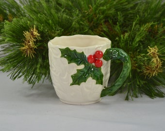 Vintage Detailed Porcelain Holly Mug From 1970 Christmas Cup
