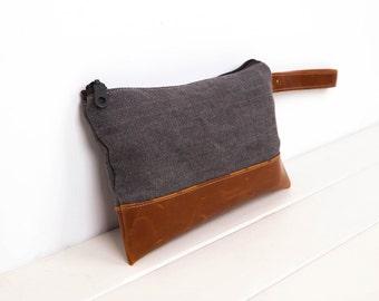 Wristlet Zipper Pouch, Wristlet Bag,Leather Pouch,wristlet Clutch Purse Vegan Faux leather