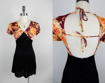 70s Vintage Floral Open Back Straps V Neck Black Dress XS