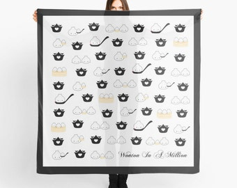 """Dimsum Scarf - """"Soup Dumplings"""" [Square Scarf, Mother's Day Gift, Scarf Gift, Printed Scarf, Silk Scarf, Hermes Scarf, Head Scarf, Food]"""