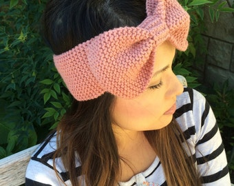 Knitted Bow Headband  - Turban Ear Warmer Bow Scarf Head Warmer Winter Accessories Earmuff Baby Toddler Child Bow Ear Warmer