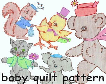 Baby Quilt Pattern Baby Animals Nursery Quilt Vintage Embroidered Quilt MAIL ORDER 7398 *PDF Download Crib Quilt Crib Cover Baby Shower Gift