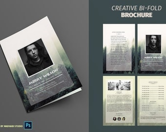 Forest Funeral Program Template   Funeral Memorial Program Template    Photoshop U0026 MS Word Template    Funeral Program Word Template