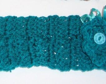 Jade crochet flower headband