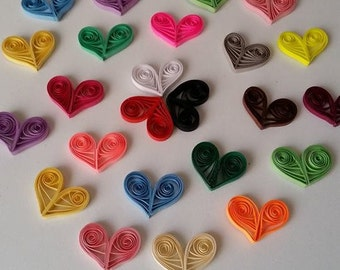 15 Pieces Quilling Heart,  Quilled Heart, Quilled Ornament, Quilling Art, Valentine's Day Ornament, Quilled Gift, Heart Ornament, Home Decor