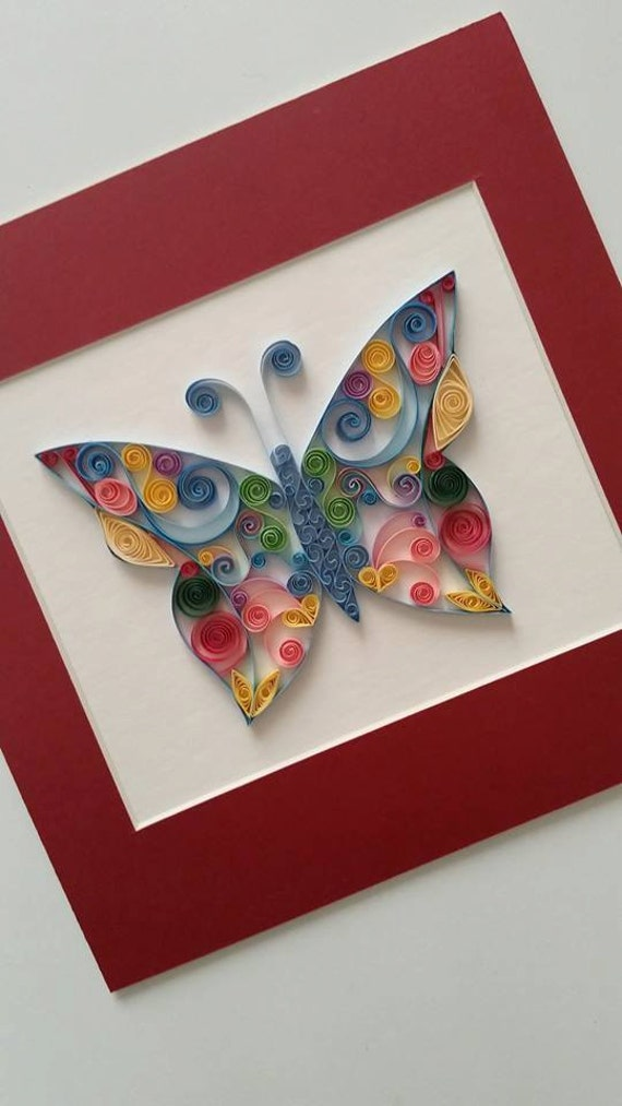 Items similar to quilled paper art quilled butterfly for Quilling home decor