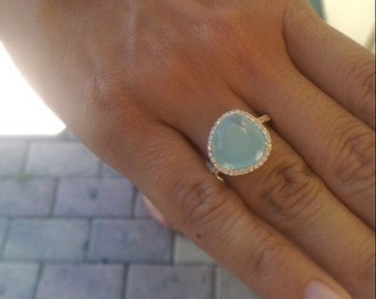 Aqua chalcedony set of necklace and ring.