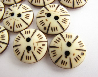 12 small buttons, bone imitation, Fun plastic buttons for blouses and shirts, 15 mm
