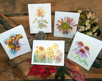 Flower Notecards, Watercolor Prints, All Occasion Cards, Mothers Day Gifts,